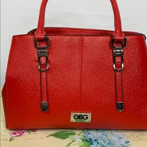 Guess red satchel purse with 2 handles
